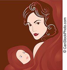 Jungfrau Maria hält Baby Jesus.