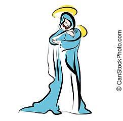 Jungfrau Maria und Kind Jesus. Weihnachtsbilder.