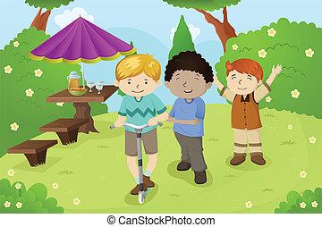 Jungs spielen im Park