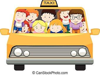Jungs und Mädchen fahren mit dem Taxi.