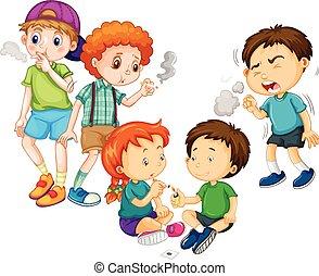 Jungs und Mädchen rauchen Zigaretten.