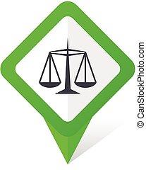 Justice Green Square Pointer Vektor Icon in eps 10 auf weißem Hintergrund mit Schatten.