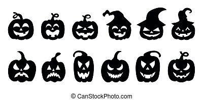 kã¼rbis, satz, vektor, silhouette, abbildung, halloween