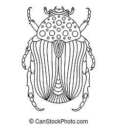 käfer, anti-stress, abbildung, vektor, barbel, book., beetle-insect, linear, buch, kinder, färbung, erwachsene, alpin