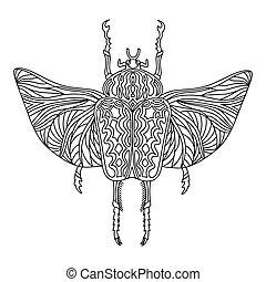 käfer, illustration., färbung, page., vektor, erwachsene, anti-stress, buch, kinder, linear, goliath