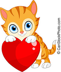 Kätzchen mit Herz Valentin
