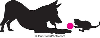 Kätzchen und Hund