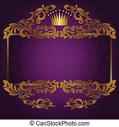 Königliche Symbole auf einem lila Hintergrund