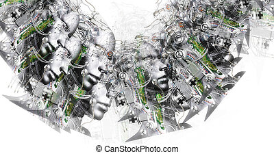 köpfe, cyborg, surreal, erzeugt, computerabbild