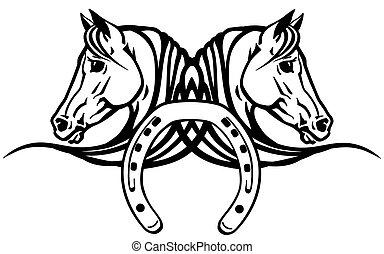 köpfe, pferden, schuh, weißes, zwei