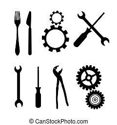 Körbe, Getriebe, Schraubenzieher, Pinzer, Spanner, Handschlüsselwerkzeuge, Messer, Gabel.