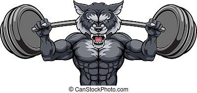 körpergewicht, bauunternehmer, hantel, wolf, heben, maskottchen