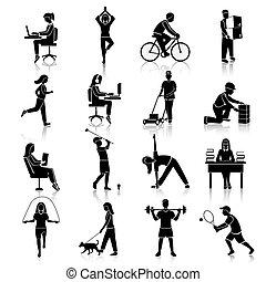 Körperliche Aktivitätssymbole schwarz.