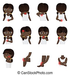 Körperteile Schmerzen, Kinderkrankheiten infographischen Set. Die kleine schwarze afroamerikanische Amerikanerin oder brasilianische Kind fühlt Schmerzen in verschiedenen Teilen des Körpers flache Vektorgrafik.