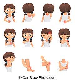 Körperteile Schmerzen, Kinderkrankheiten infographischen Set. Kleine Mädchen fühlen Schmerzen in verschiedenen Teilen der Körper flachen Vektorgrafik.