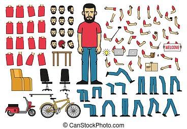 Körperteile und Objekte, um einen bärtigen Mann zu erschaffen