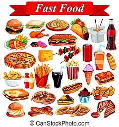 Köstliche Fastfood und Getränke.