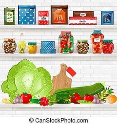 Köstliches und gesundes Essen auf Regalen für Ihr Design.