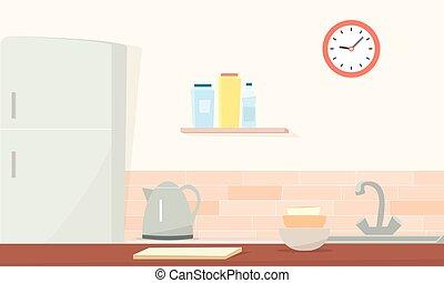 Küche. Einfaches Zeichentrickbild