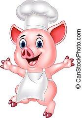 küchenchef, karikatur, schwein