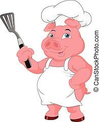 küchenchef, reizend, karikatur, schwein