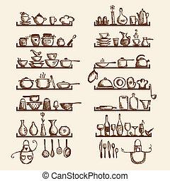 Küchenutensilien auf den Regalen, Zeichnungen für Ihr Design