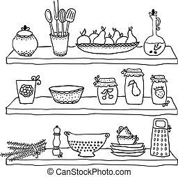 Küchenutensilien auf Regalen, Zeichnungen.