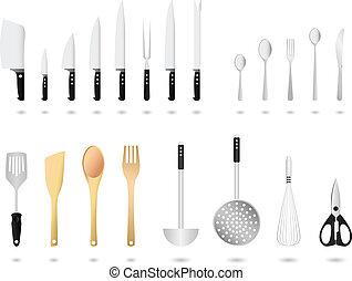 Küchenutensilien setzen Vektor ein