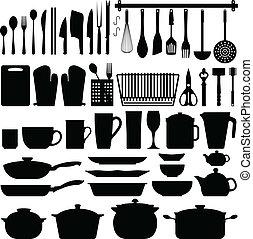 Küchenutensilien Silhouette Vektor