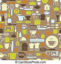 Küchenwerkzeuge nahtlos Muster mit Retrofarbe, Vektorformat.