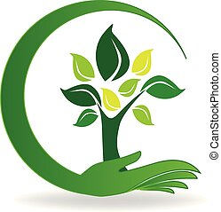 Kümmere dich um ein Baumsymbol-Logo.