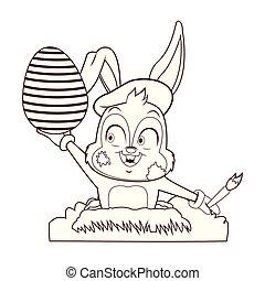 Künstlerisches Kaninchen mit Ostereier.