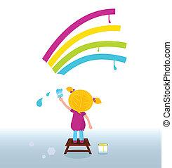 Künstlerisches Kind malt Regenbogen