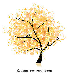 Künstlicher Baum, goldenes Blatt