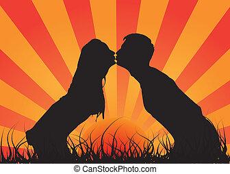 Küss einen Kerl mit einem Mädchen. Das ist Liebe.