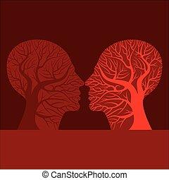 küssende , frau, silhouette, mann