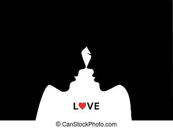 Küssendes Paar in Liebe, Vektor.