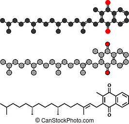 (k1, konventionell, phytomenadione), phylloquinone, k, molecule., vitamin, stilisiert, übertragung, skelettartig, 2d, formula.