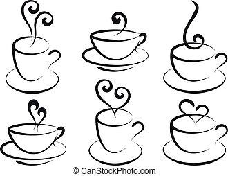 Kaffee und Tee, Vektor.