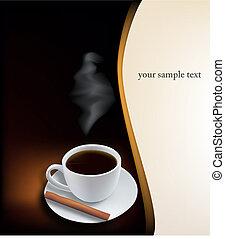 Kaffeebecher auf schwarzem Hintergrund.
