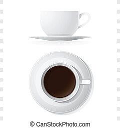 Kaffeebecher-Ikonen oben und Seitenansicht