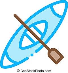 kajak, vektor, canoeing, ikone, abbildung