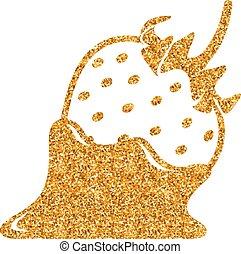 kakau, -, glitzer, gold, erdbeer, ikone