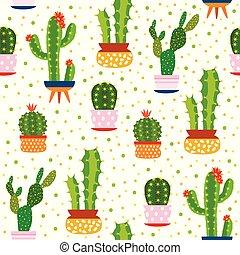 Kakteenloses Muster. Spiky Kaktus, Wüstenpflanzen leuchtend wiederholte Textur süß Blüte gedruckt aloe vera botanischer Vektor