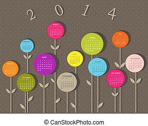 Kalender für 2014 Jahre mit Blumen.