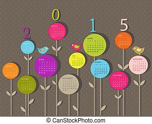 Kalender für 2015 Jahr mit Blumen.