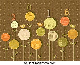 Kalender für 2016 Jahre mit Blumen.