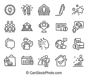 kalender, leute, gruppe, set., heiligenbilder, vektor, ikone, signs., included, bildung, rechtsanwalt