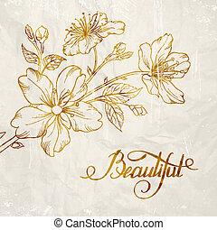 Kalligrafische Kirschblüte.