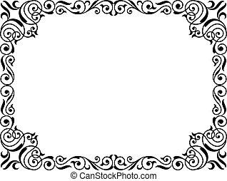 Kalligraphie-Penmanship, Curly barockes Bild schwarz